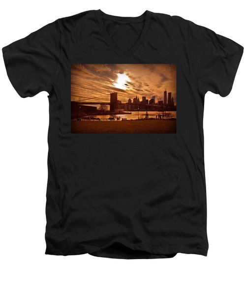 Men's V-Neck T-Shirt featuring the photograph New York Skyline And Brooklyn Bridge -- Late Afternoon by Mitchell R Grosky