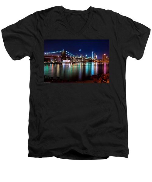 Men's V-Neck T-Shirt featuring the photograph New York Skyline And Brooklyn Bridge With Crescent Moon Rising by Mitchell R Grosky