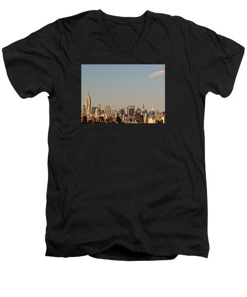 Men's V-Neck T-Shirt featuring the photograph New York City Skyline by Kerri Farley