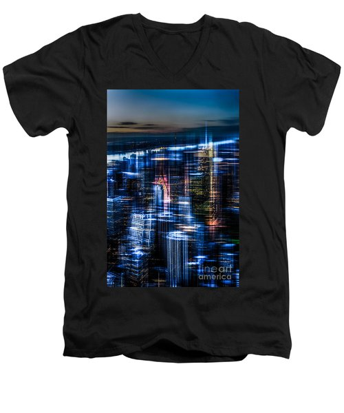 New York - The Night Awakes - Blue I Men's V-Neck T-Shirt