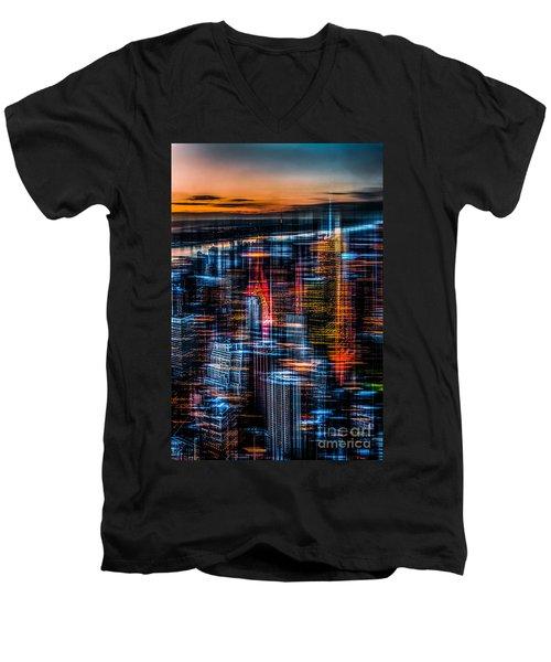 New York- The Night Awakes - Orange Men's V-Neck T-Shirt