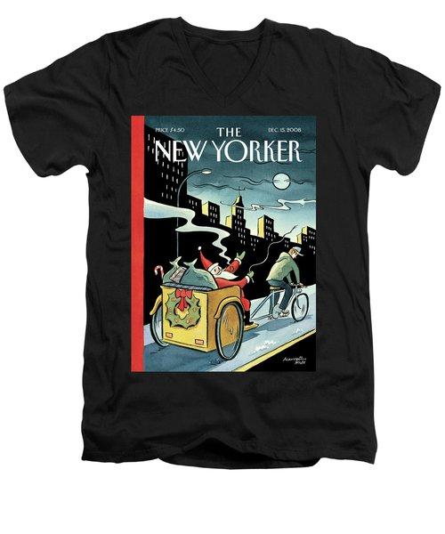 New Yorker December 15, 2008 Men's V-Neck T-Shirt