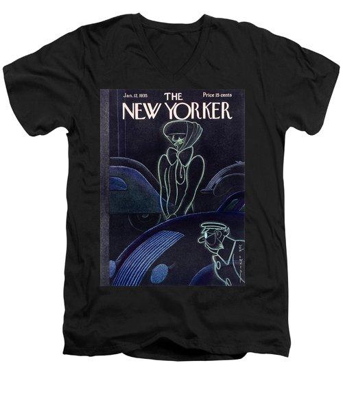 New Yorker January 12 1935 Men's V-Neck T-Shirt