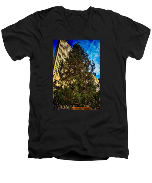 Men's V-Neck T-Shirt featuring the photograph New York's Holiday Tree by Chris Lord