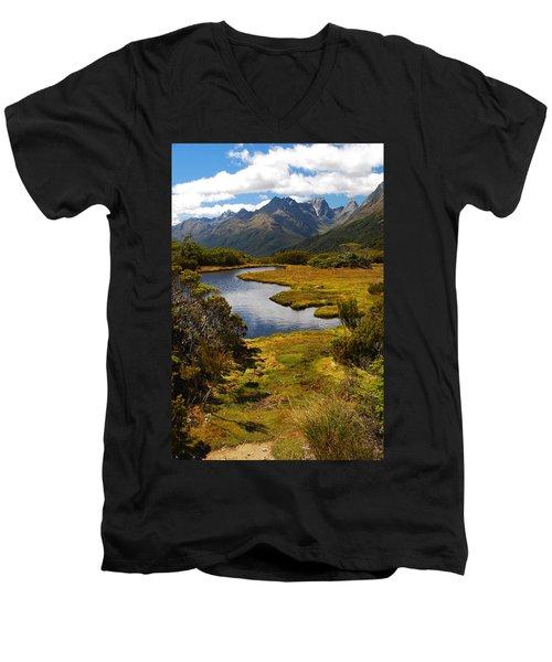 New Zealand Alpine Landscape Men's V-Neck T-Shirt
