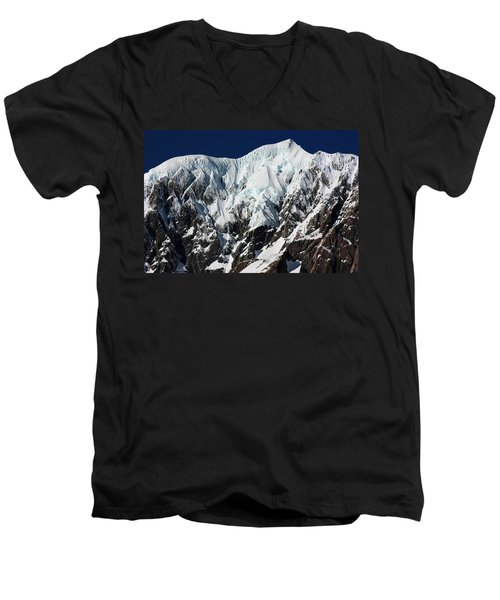 Men's V-Neck T-Shirt featuring the photograph New Zealand Mountains by Amanda Stadther