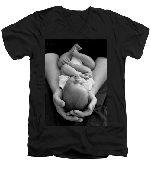 Newborn In Arms Men's V-Neck T-Shirt by Lisa Phillips