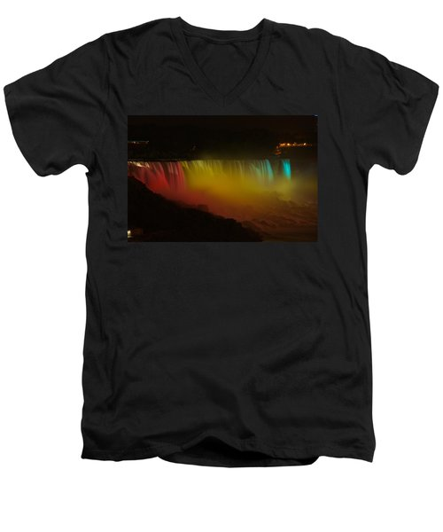 Men's V-Neck T-Shirt featuring the photograph Niagara Falls A Glow by Dave Files