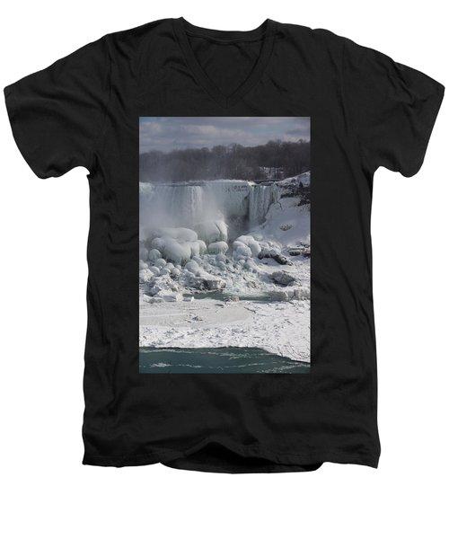 Niagara Falls Ice Buildup - American Falls New York State U S A Men's V-Neck T-Shirt