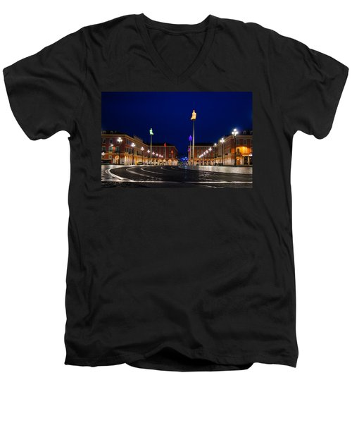 Men's V-Neck T-Shirt featuring the photograph Nice France - Place Massena Blue Hour  by Georgia Mizuleva