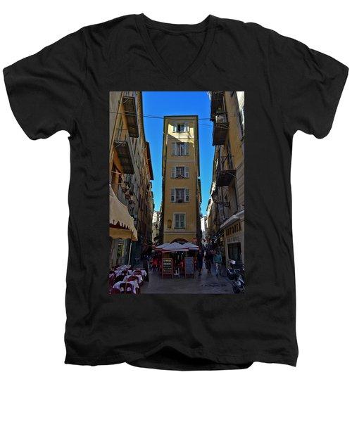Men's V-Neck T-Shirt featuring the photograph Nice - La Maison by Allen Sheffield