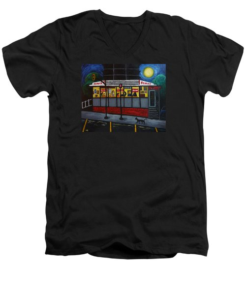 Men's V-Neck T-Shirt featuring the painting Night At An Arlington Diner by Victoria Lakes
