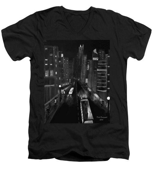 Night City Scape Men's V-Neck T-Shirt