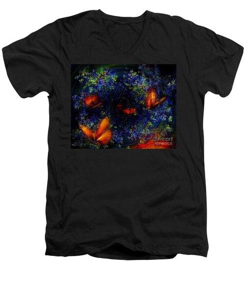 Men's V-Neck T-Shirt featuring the digital art Night Of The Butterflies by Olga Hamilton
