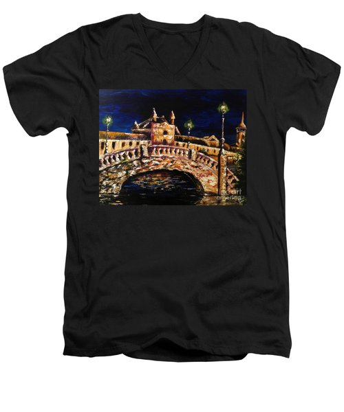 Men's V-Neck T-Shirt featuring the painting Night Passage by Karen  Ferrand Carroll