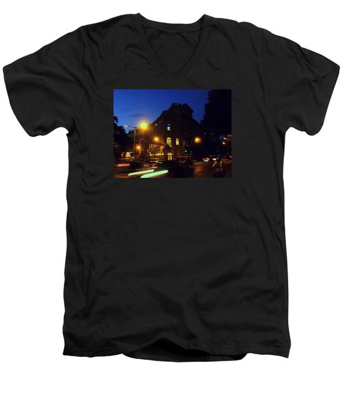 Men's V-Neck T-Shirt featuring the photograph Night View by Salman Ravish
