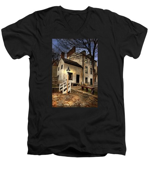 Men's V-Neck T-Shirt featuring the digital art Night Watchman by Mary Almond