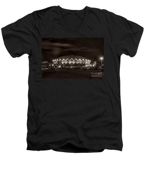 night WVU Coliseum basketball arena Men's V-Neck T-Shirt by Dan Friend