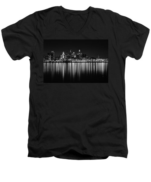 Nightfall In Philly B/w Men's V-Neck T-Shirt