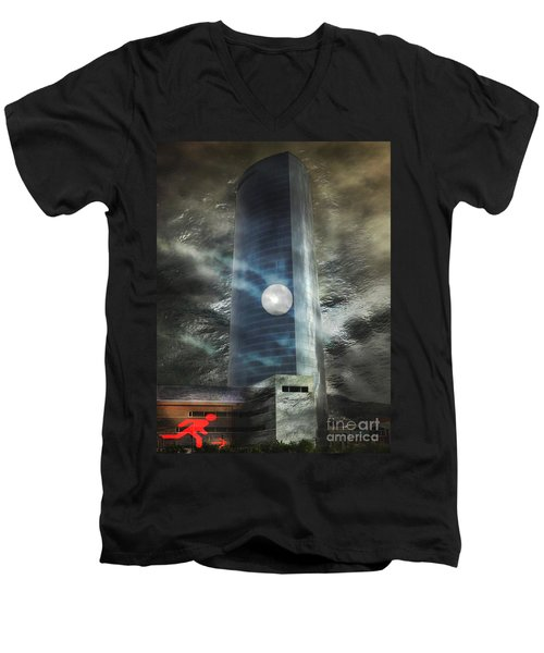 Men's V-Neck T-Shirt featuring the digital art Nightmare Tower by Rosa Cobos