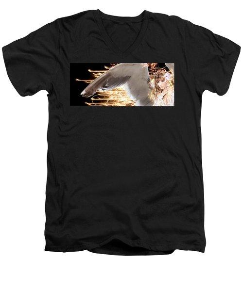 Nissrine An Angels Radiance Men's V-Neck T-Shirt