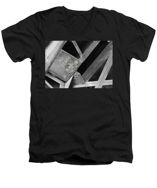 Men's V-Neck T-Shirt featuring the photograph No Peace No Justice by Patricia Babbitt