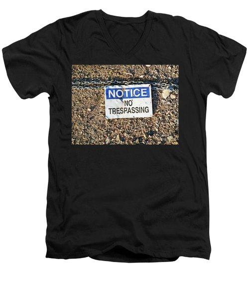 No Trespassing Sign On Ground Men's V-Neck T-Shirt