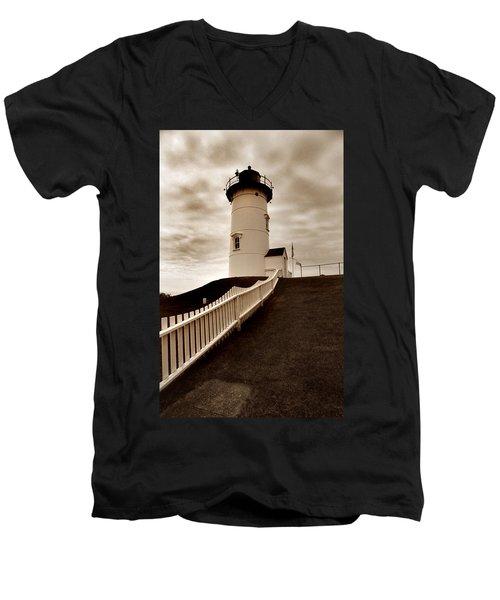 Nobska Lighthouse Men's V-Neck T-Shirt by Skip Willits