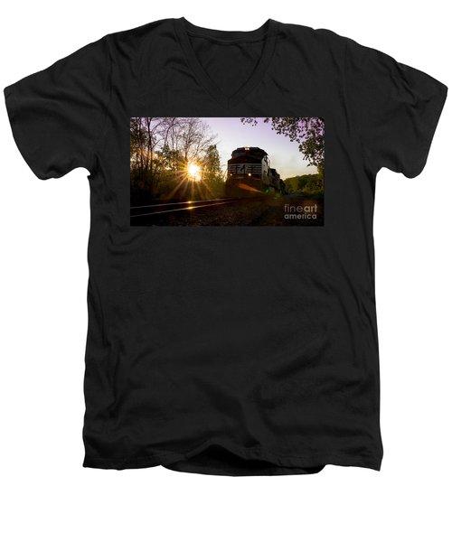 Norfolk And Southern At Sunset Men's V-Neck T-Shirt