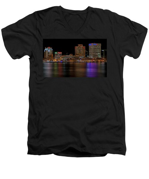 Norfolk Virginia Skyline Men's V-Neck T-Shirt