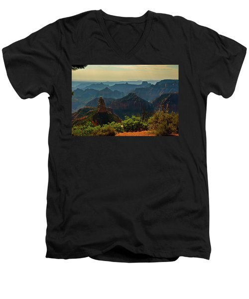 Men's V-Neck T-Shirt featuring the photograph North Rim Grand Canyon Imperial Point by Bob and Nadine Johnston