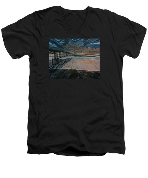 Men's V-Neck T-Shirt featuring the painting North Side Of The Ventura Pier by Ian Donley