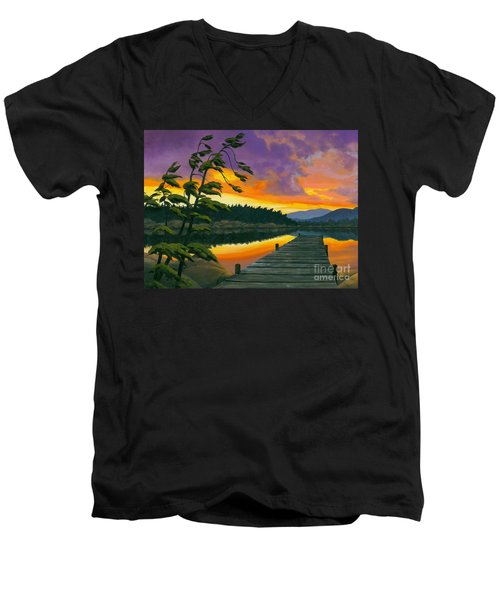 Men's V-Neck T-Shirt featuring the painting After Glow - Oil / Canvas by Michael Swanson