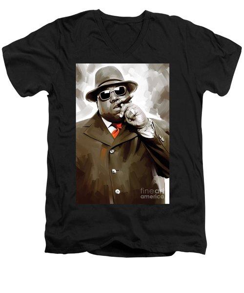 Notorious Big - Biggie Smalls Artwork 3 Men's V-Neck T-Shirt