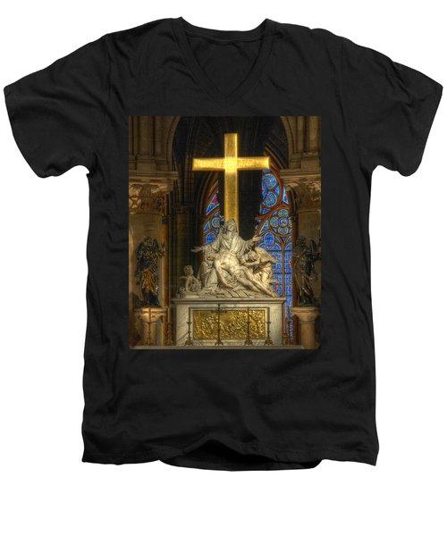 Notre Dame Pieta Men's V-Neck T-Shirt