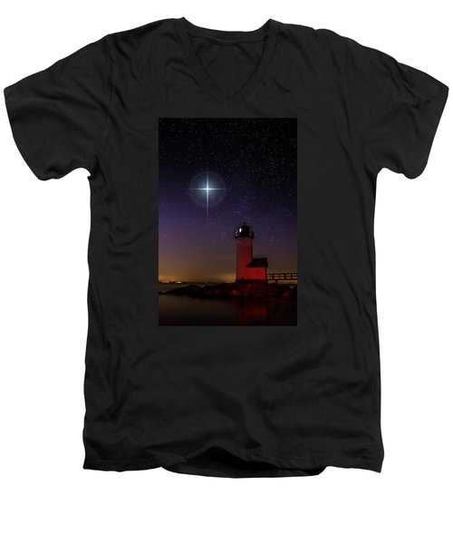 Men's V-Neck T-Shirt featuring the photograph Star Over Annisquam Lighthouse by Jeff Folger