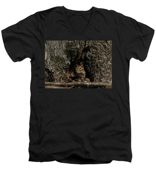 Men's V-Neck T-Shirt featuring the photograph Nut Therapy  by Neal Eslinger