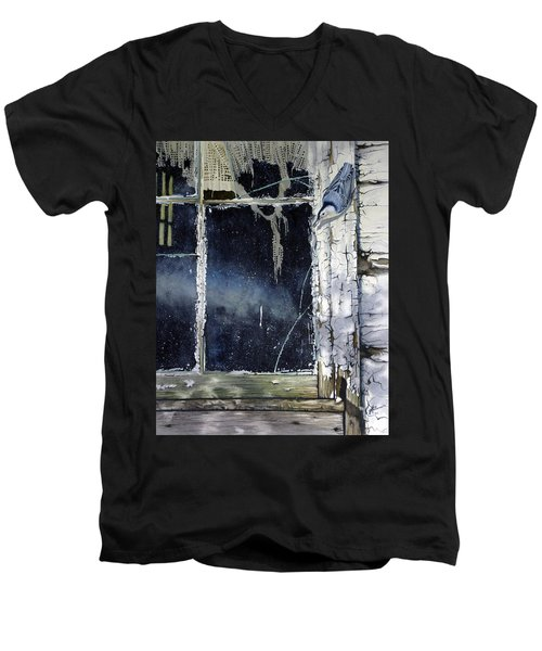 Nuthatch And Window Men's V-Neck T-Shirt