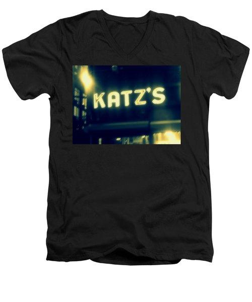 Nyc's Famous Katz's Deli Men's V-Neck T-Shirt by Paulo Guimaraes