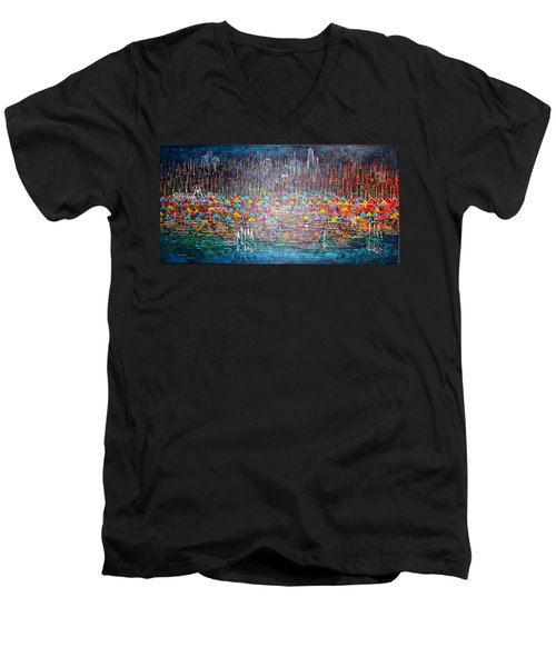 Oak Street Beach Chicago II -sold Men's V-Neck T-Shirt by George Riney