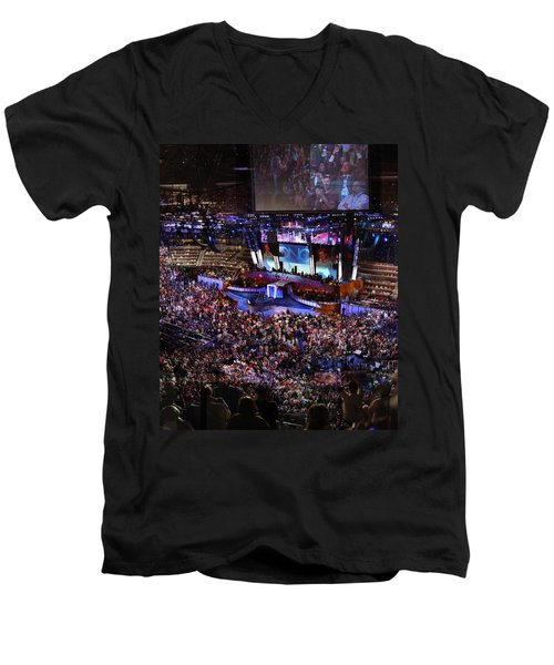 Obama And Biden At 2008 Convention Men's V-Neck T-Shirt