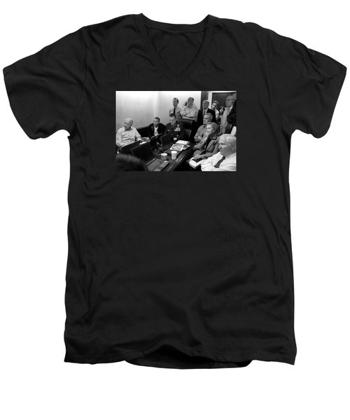 Obama In White House Situation Room Men's V-Neck T-Shirt by War Is Hell Store