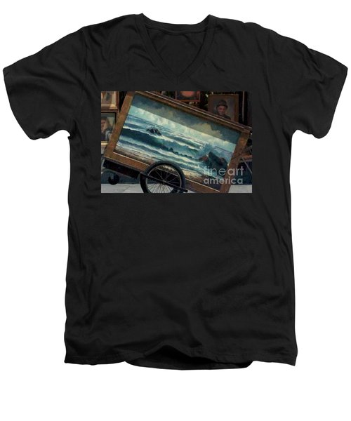 Men's V-Neck T-Shirt featuring the photograph Ocean On Wheels Artist Cart At Jackson Square New Orleans La Usa by Michael Hoard