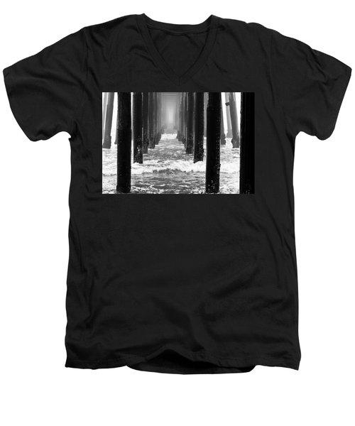 Oceanside Pier In Fog Men's V-Neck T-Shirt