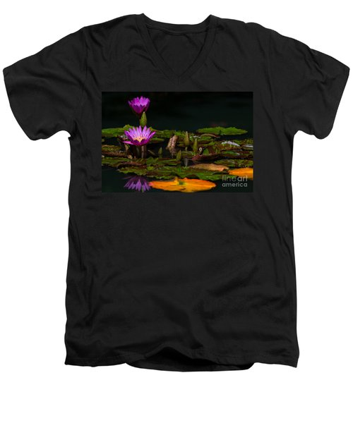 October Lilies 2 Men's V-Neck T-Shirt