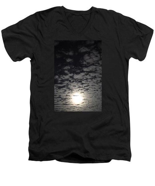 October Moon Men's V-Neck T-Shirt by Joel Loftus