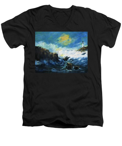Off Shore Breakers At Dusk Men's V-Neck T-Shirt