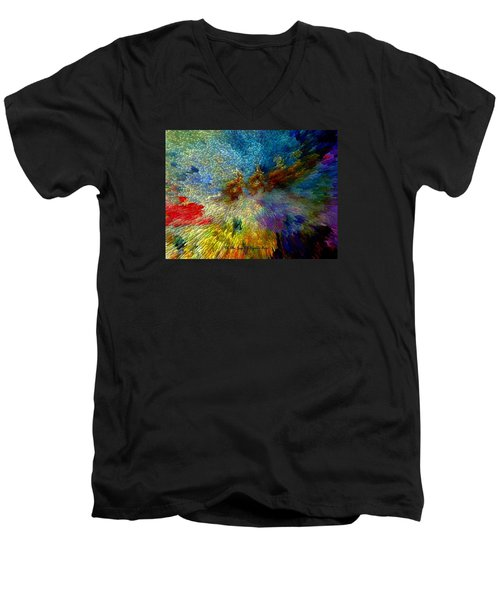 Men's V-Neck T-Shirt featuring the painting Oh The Joys Of Santa's Toys by Lisa Kaiser