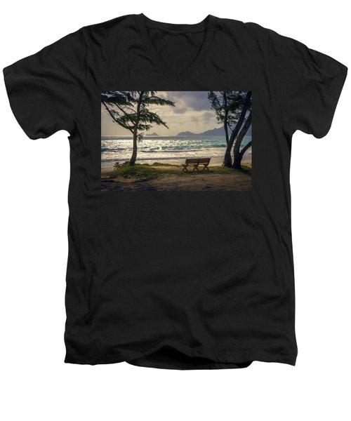 Men's V-Neck T-Shirt featuring the photograph Oahu Sunrise by Steven Sparks