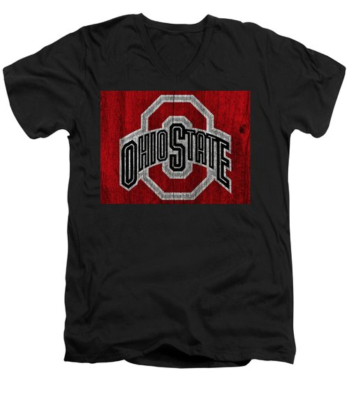 Ohio State University On Worn Wood Men's V-Neck T-Shirt by Dan Sproul